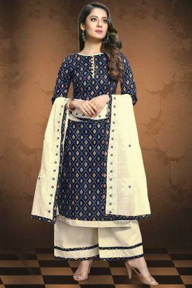 Incredible Navy Blue Color Patola Print Fabric Salwar Suit