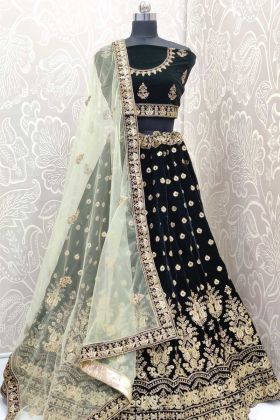Indian Bridal Lehenga Choli In Dark Green