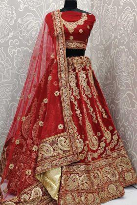 Indian Bridal Wedding Wear Red Color Heavy Fused Velvet Fabric Lehenga Choli