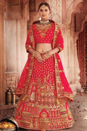 Indian Bridal Wedding Wear Redish Pink Color Silk Fabric Lehenga Choli
