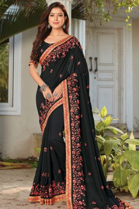 Indian Festival Cotton Silk Fabric In Black Color Designer Saree
