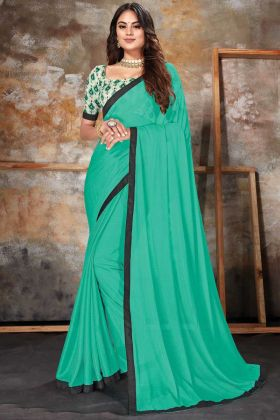 Indian Festive Green Lycra Plain Saree With Multi Color Blouse