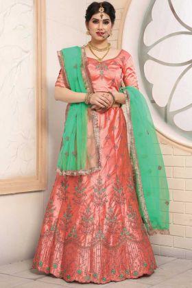 Indian Festive Pure Satin Peach Color Wedding Lehenga Choli