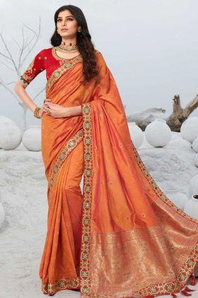 Indian Festive Wear Jacquard Silk Orange Saree