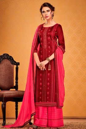 Indian Look Maroon Cotton Silk Salwar Suit For Party Wear