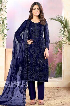 Indian Look Net Fabric Navy Blue Color Party Wear Salwar Suit