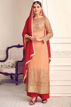 Indian Look Peach Color Viscose Georgette Salwar Suit In Embroidery