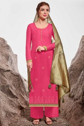 Indian Palazzo Design Suits Rani Pink Nylon Chanderi