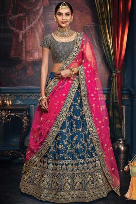 Indian Stylish Lehenga Choli In Peacock Blue Handloom Silk