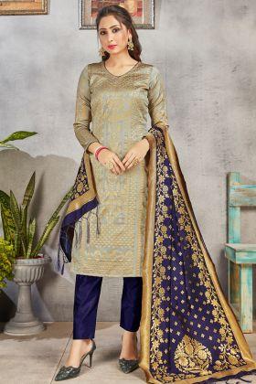 Indian Wear Grey Color Salwar Suit In Banarasi Art Silk Fabric