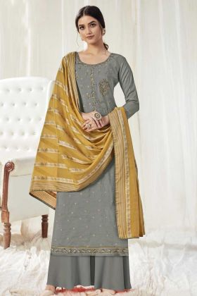 Indian Wear Grey Color Salwar Suit In Pure Dola Cotton Fabric