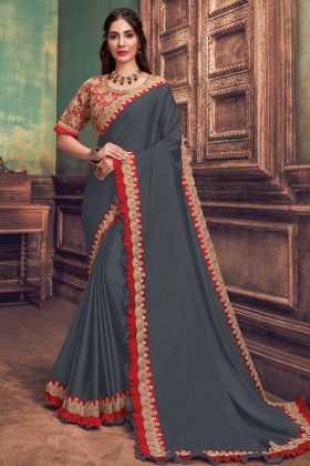 Indian Wear Grey Silk Georgette New Designer Launch Saree