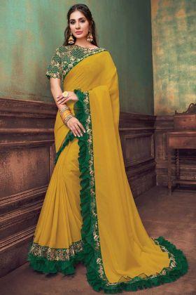 Indian Wear Mustard Yellow Silk Georgette New Launch Saree