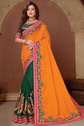 Indian Wear Yellow Green Dola Silk New Launch Designer Saree