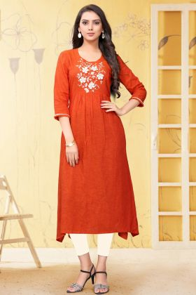 Indian Women Ethnic Wear Orange Linen Readymade Kurti