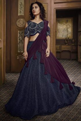 Indian Beautiful Party Wear Lehenga Navy Blue Color Fancy Fabric