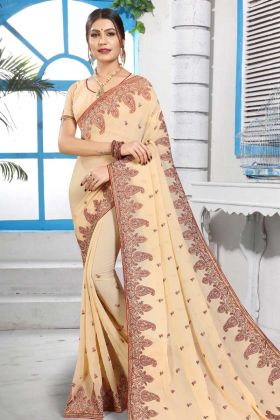 Indian Beauty Excellent Georgette Saree In Cream Color