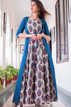 Indian Designer Blue With Multicolor Pure Maslin Gown