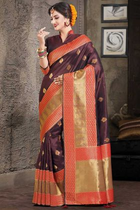 Indian Fashion Art Silk Wine Color With Weaving Work