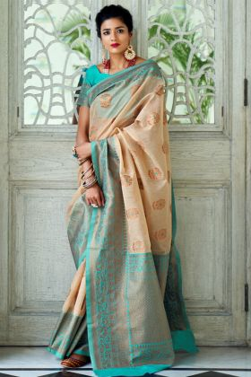 Indian Traditional Saree Beige pure Linen Silk Fabric