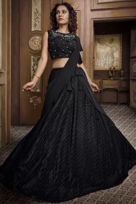 Indian Wedding Lehenga In Fancy Fabric  Black Color