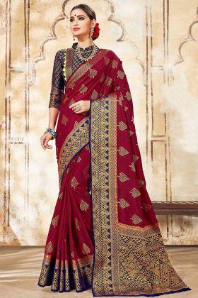 Indian Wedding Saree In maroon Color Nylon Silk Fabric