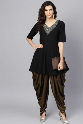 Indo Western Black Peplum Top Paired With Copper Color Dhoti