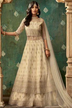 Indo Western Style Cream Color Net Designer Salwar Suit