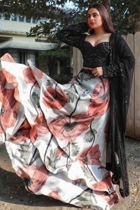 Italian Silk Fabricate Black And White Colored Heavy Three Layers Lehenga Choli With Best Price