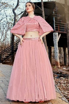 Jacket Style Baby Pink Net Crop Top For Unmarried Girls
