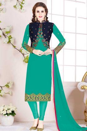 Jacket Style Turquoise Blue Churidar Salwar Suit With Chiffon Dupatta