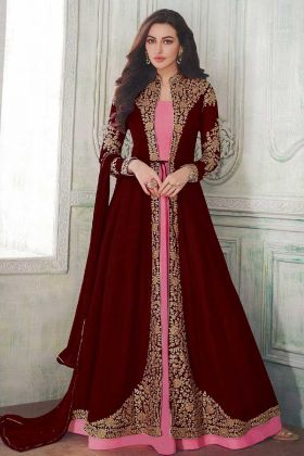 Jacket Style Anarkali Salwar Kameez Latest Collection Maroon With Georgette Fabric