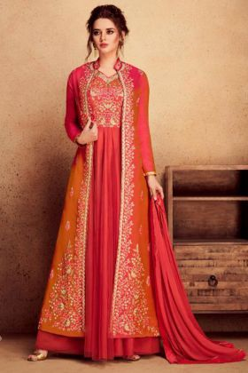 Jacket Style Heavy Silk Anarkali Dress Embroidery Work In Red and Orange Color