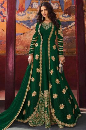 Jacket Style Net Anarkali Dress Embroidery Work In Green Color