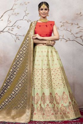 Jacqaurd Silk Pastel Green Latest Lehenga Design