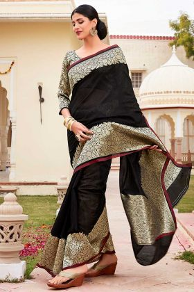 Jacquard Border Work Cotton Traditional Saree