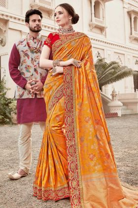 Jacquard Silk Mustard Yellow Designer Saree With Art Silk Blouse