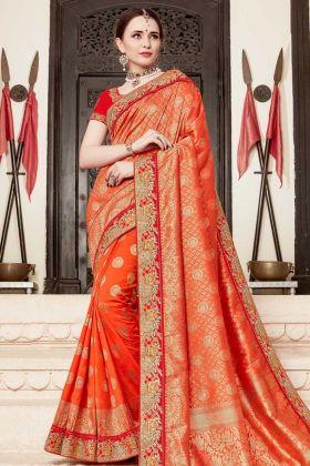 Jacquard Silk Orange Designer Saree With Art Silk Blouse
