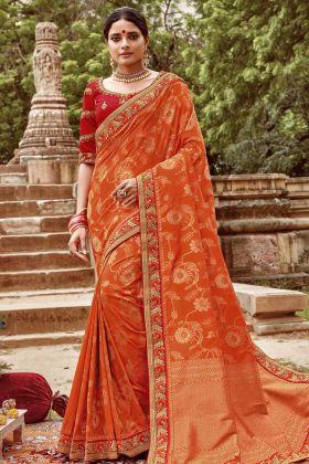 Jacquard Silk Orange Saree With Art Silk Red Blouse