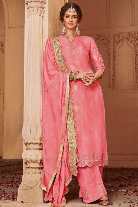 Jacquard Silk Pink Plazo Dress With Chinon Dupatta