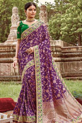 Jacquard Silk Purple Latest Saree For Marriage
