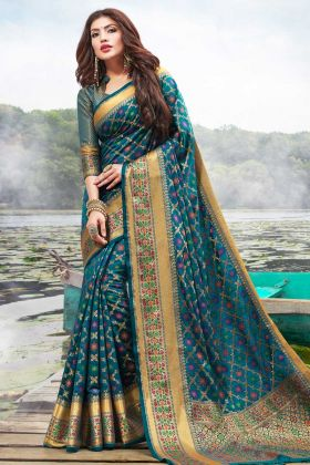 Jacquard Silk Teal Blue Kanchipuram Pattu Saree