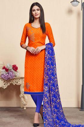Jacquard Cotton Silk Orange Salwar Kameez