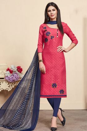 Jacquard Cotton Silk Red Straight Suit