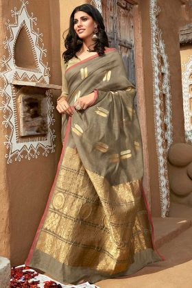 Jacquard Cotton Women Saree In Olive Grey Color