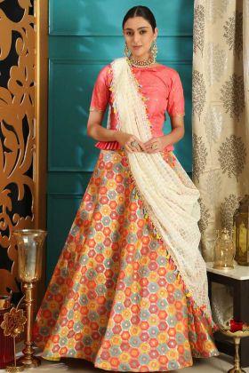 Jacquard Designer Lehenga Choli In Pink Color