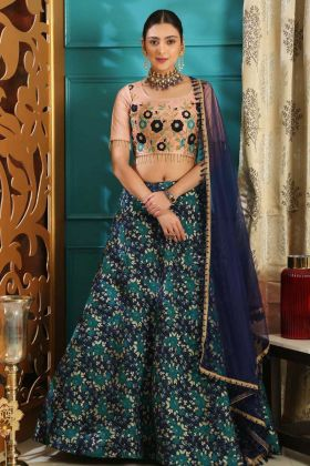 Jacquard Fabric Printed Lehenga Choli In Multi Color