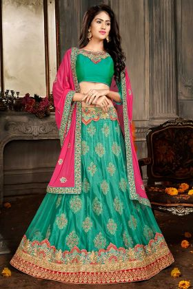 Jacquard Net Heavy Designer Lehenga Choli Sea Green Color