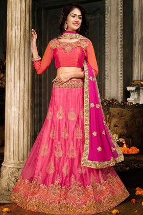 Jacquard Net Old Rose Pink Wedding Lehenga Choli