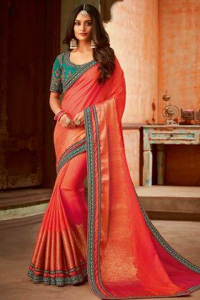 Jacquard Orange Color Wedding Saree With Jari Embroidered Work
